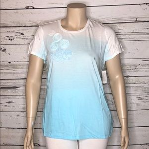 IZOD NWT XL Ombre Rose Embossed Knit Top Tee Shirt